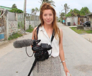 Kim Wall reporting in Majuro, the Marshall Islands. (Photo by Jan Hendrik Hinzel)