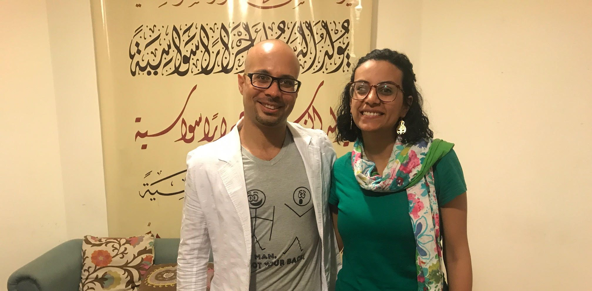 Ahmed Maher and his friend, human rights lawyer and activist Mahinour el-Masry pictured in Cairo, Egypt. Both had been jailed for their activism. (Lauren Bohn/GroundTruth)