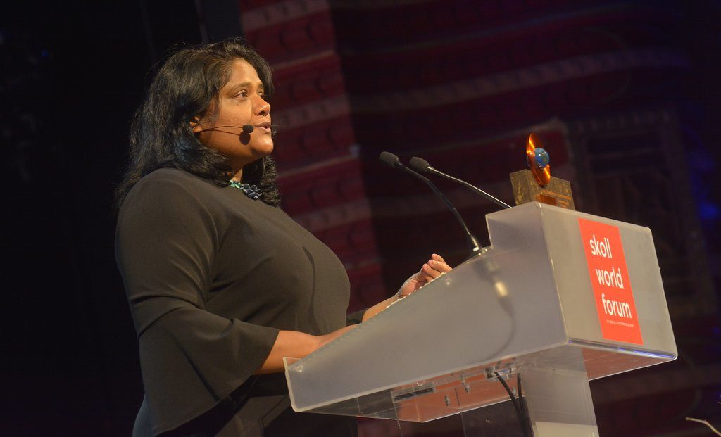 """We believe those who feed us should not go hungry themselves."" —Anuska Ratnayake, Skoll Awardee (Courtesy of Skoll Foundation)"