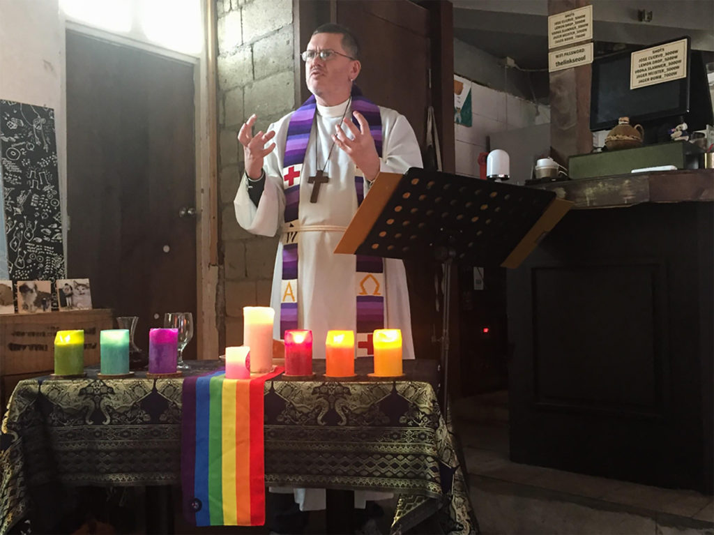 Rev. Craig Bartlett leads the Open Doors Church in Seoul, one of the few LGBT-affirming congregations. (Erin Rode/GroundTruth)