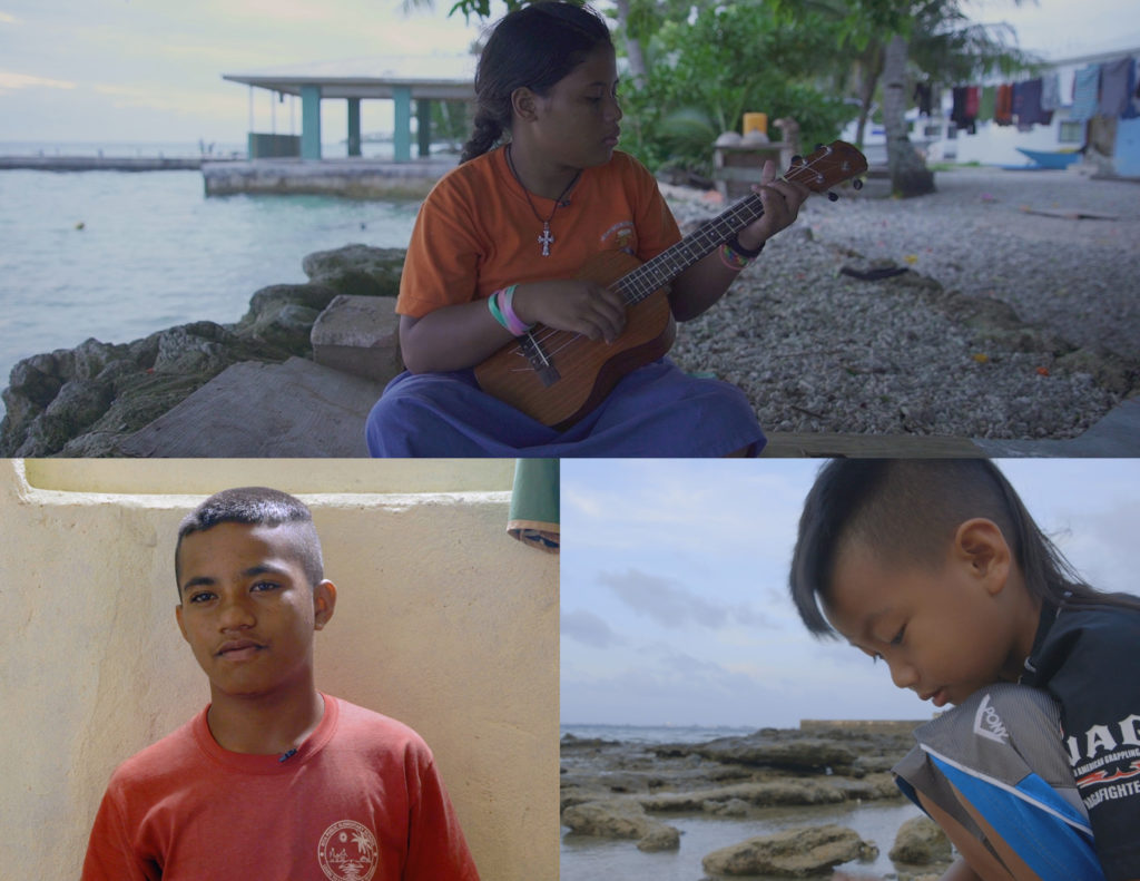 The interactive film looks at the effects of climate change on the Marshall Islands through the eyes of three children, clockwise from bottom left: Wilmer Joel, Julia Rijino and Izerman Yamaguchi-Kotton. (Photos by Michelle Mizner/GroundTruth/FRONTLINE)