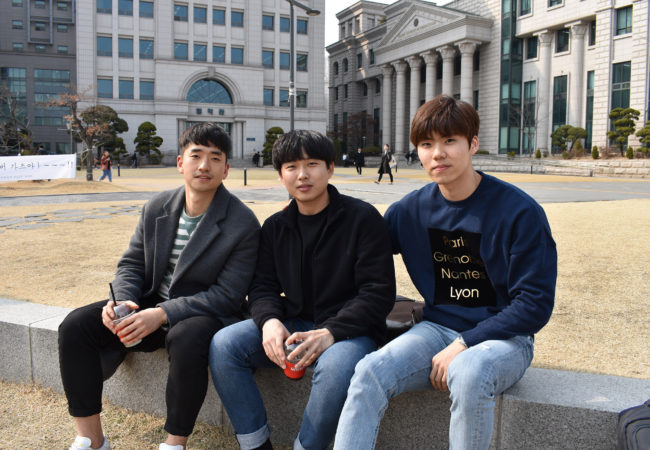 When asked about their favorite pastime, most students at Hanguk University mentioned spending time with friends. Unlike their parents, a majority of young South Koreans don't have a religious affiliation. (Ashley Vazquez/GroundTruth)