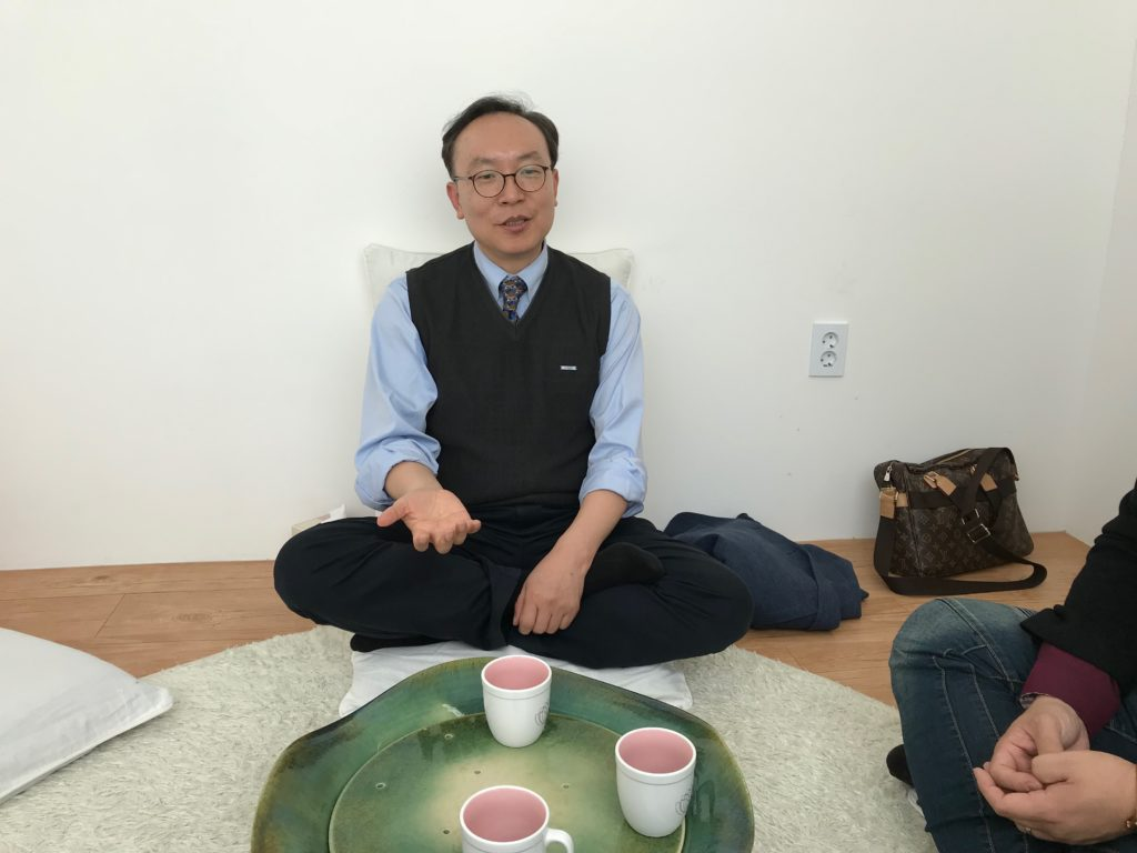 Wonyoung Sohn at the Zentherapy Natural Healing Center, where he leads Christian meditation services once a month. (Chris Damien/GroundTruth)