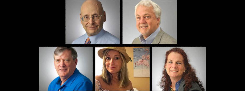 Clockwise from top left: Gerald Fischman, Rob Hiassen, Wendi Winters, Rebecca Smith and John McNamara. (Images courtesy of the Capital Gazette)