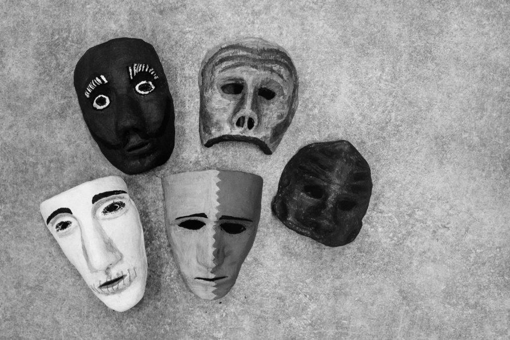 Hand-painted papier-mache masks from a mask workshop led by Italian theater artist Anna Cappellari. (Photo by Annabelle Marcovici/GroundTruth)