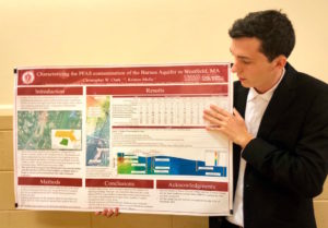 Chris Clark, an undergraduate research assistant at UMass Amherst, presents his research on the PFAS-contaminated Barnes Aquifer. (Photo by Paige Williams/GroundTruth)