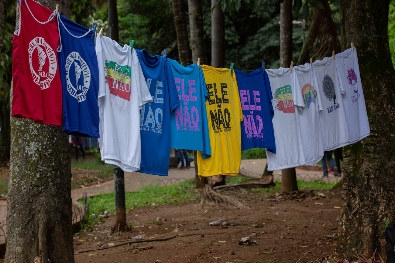 """""""Not Him"""" T-shirts displayed in a anti-Bolsonaro demonstration on on October 27, one day before the runoff. (Photo by José Cícero da Silva/GroundTruth)"""