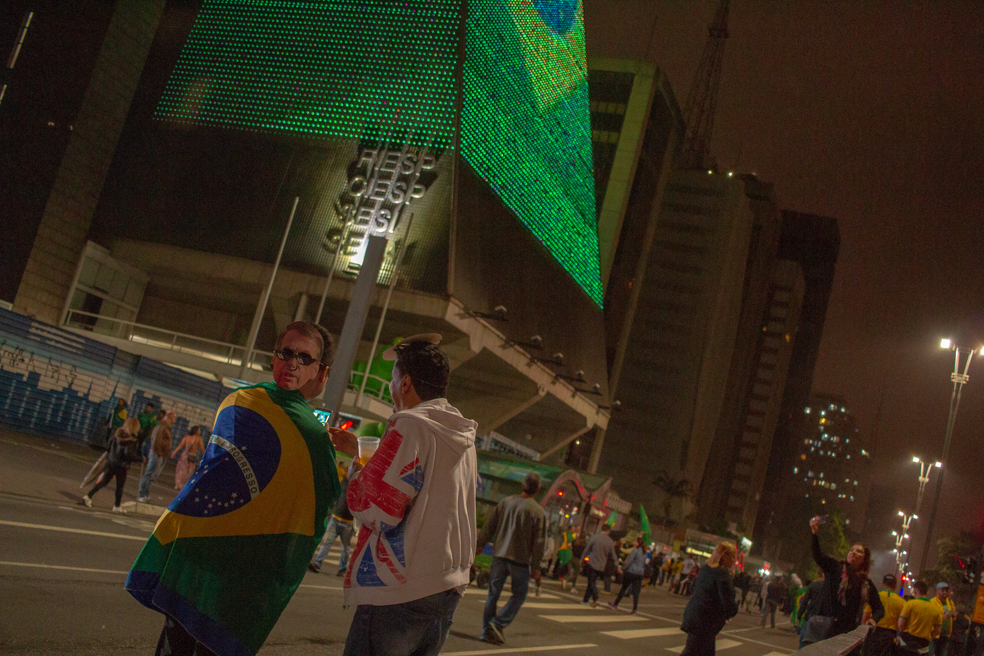 Supporters of Bolsonaro in Sao Paulo during the celebration. (Photo by Léu Britto/DiCampana/GroundTruth)