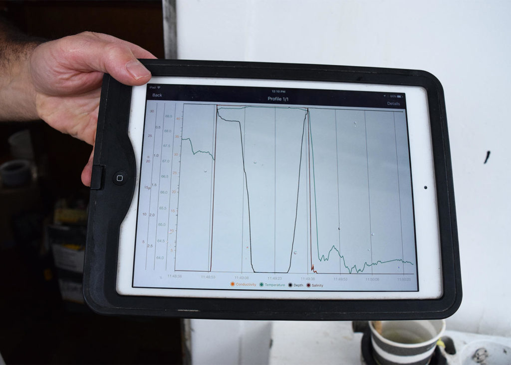 Data from the temperature probe is displayed on an iPad before being uploaded. (Photo by Pien Huang/WCAI)