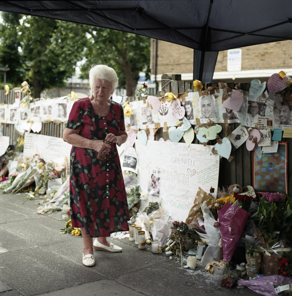 Whistable estate resident of Silchester Road mourned at the Latymer Church memorial wall for the victims of the Grenfell Fire - which is still maintained today.