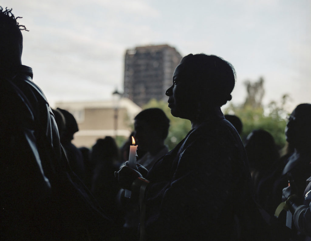 A candle light vigil was held under the West Way, weeks after the fire of Grenfell Tower, June 14th 2017.