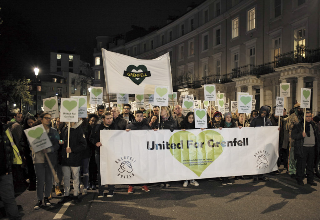 Justice For Grenfell demonstrators walked through Kensington's High Street, and the affluent neighborhoods bordering North Kensington, 10 months after the Grenfell fire.
