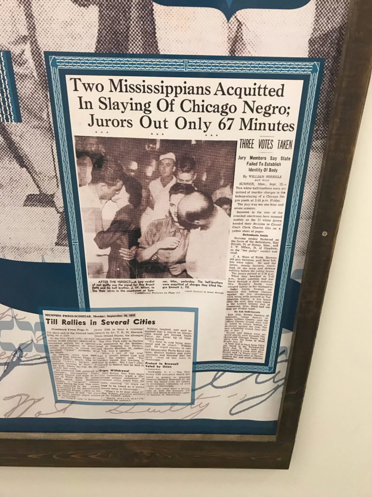 Newspaper clippings from the coverage of the trial, in display at Emmett Till Interpretive Center in Sumner, Mississippi. (Photo by Alexandra Watts/GroundTruth)