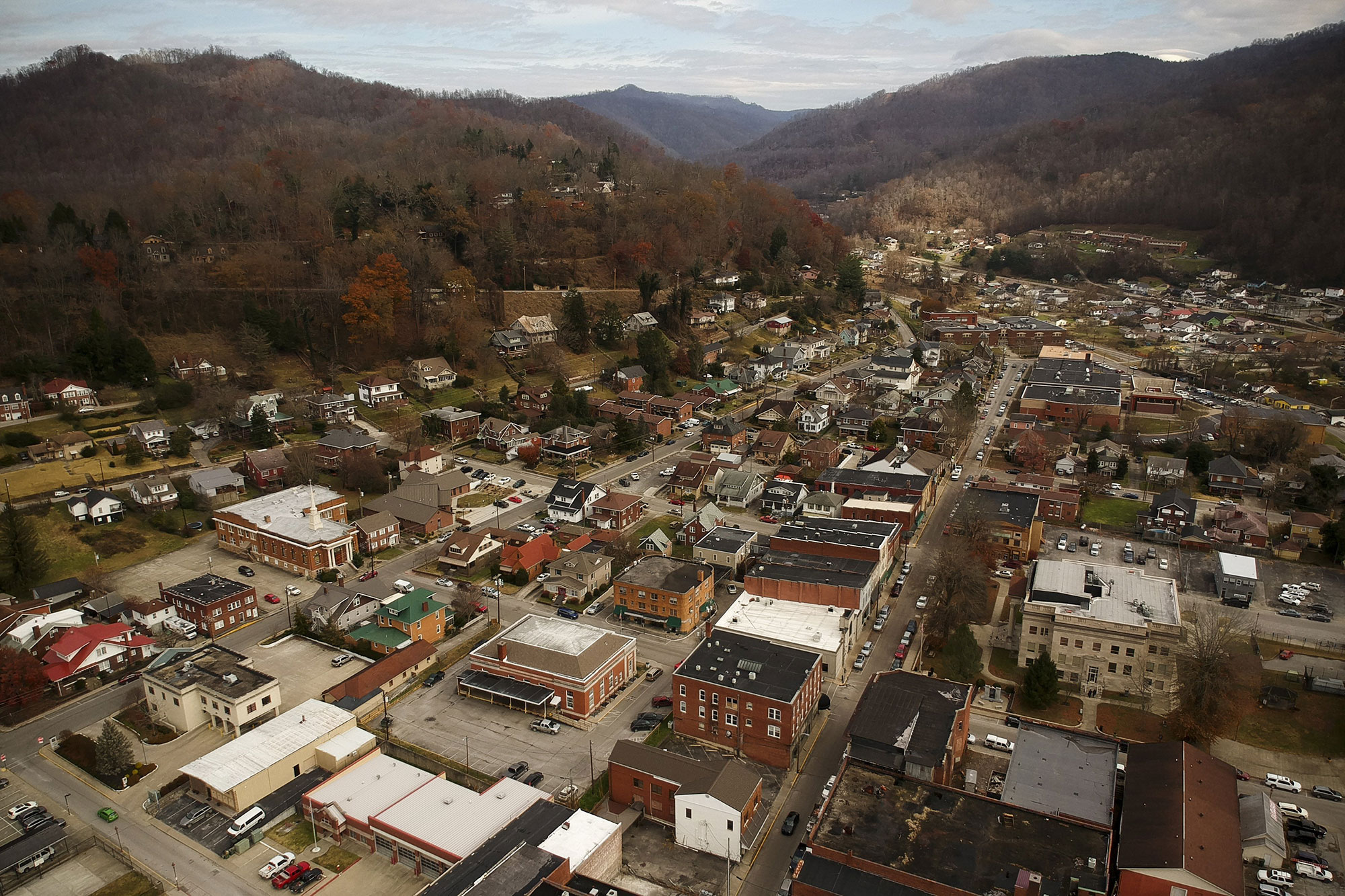 An aerial view of Harlan, Ky., on Thursday, Nov. 28, 2018. Photo by Alex Slitz / aslitz@herald-leader.com