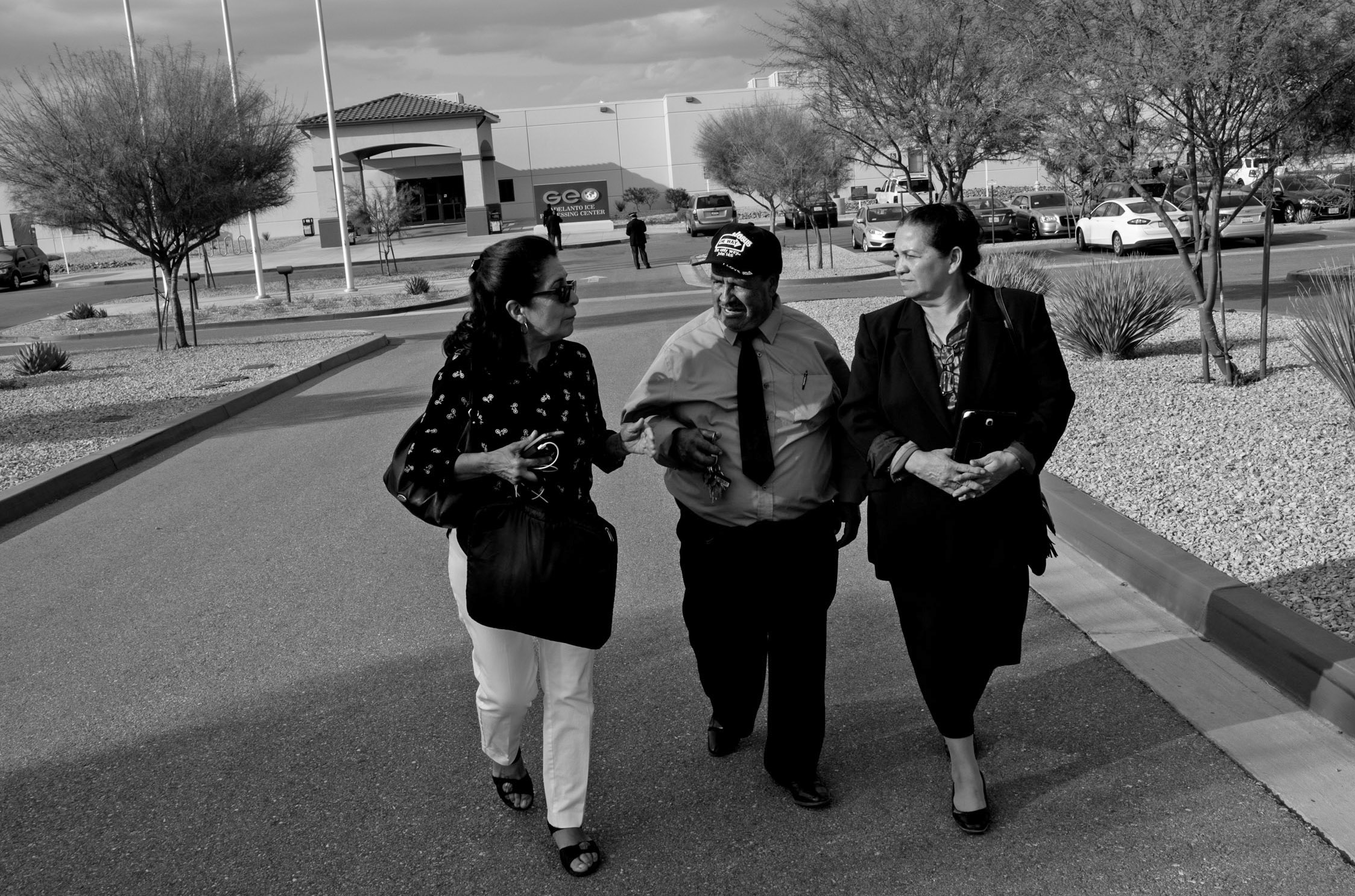 Graciela Alvarado, left, accompanies Jose Garcia, 64, and Martha Garcia, 56, after attending court for their son Jose Benitez Segovia, a U.S. Marine Corps combat veteran who is facing deportation to El Salvador, at the Adelanto Detention Facility in Adelanto, Calif., Monday, Oct. 1, 2018. (Photo by Joel Angel Juárez/GroundTruth)