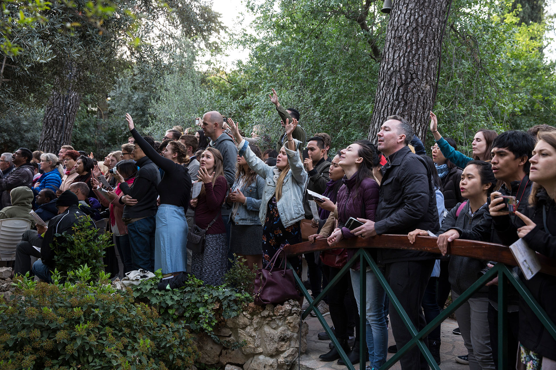 Hundreds of Christians around the world celebrate the Resurrection of Jesus Christ during a sunrise prayer at the Garden Tomb in east Jerusalem on April 1,2018.The Garden Tomb is a site where some Christians believe the resurrection of Jesus Christ took place. Other Christians believe the most likely site is at the Church of the Holy Sepulchre inside the Old City of Jerusalem. (Photo by Heidi Levine for The GroundTruth Project).