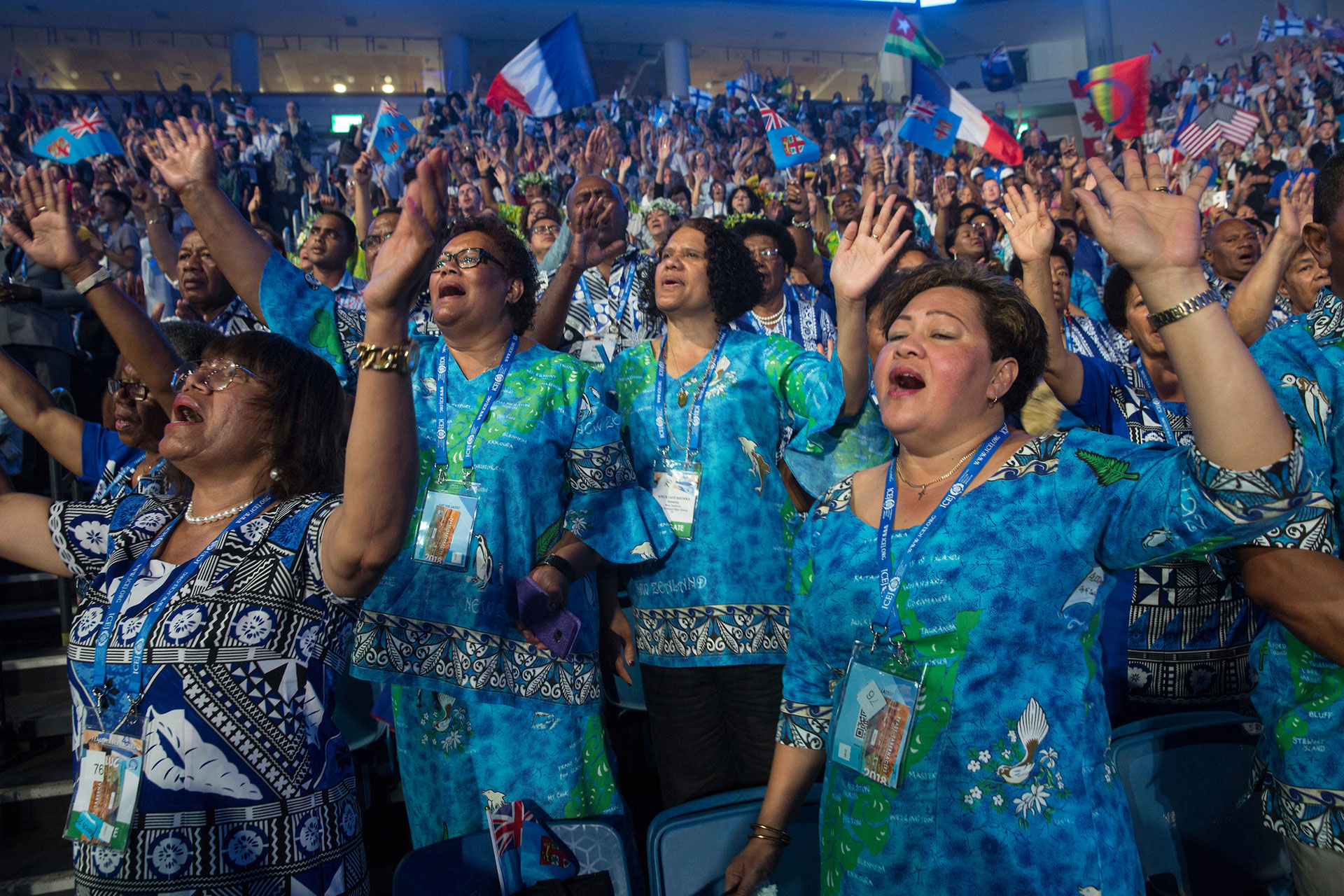 Thousands of Evangelical Christians from around the world attend the Parade of Nations and opening ceremonies for the 2018 Feast of Tabernacles at the Pais Arena in Jerusalem on September 24,2018. (Photo by Heidi Levine for The GroundTruth Project).