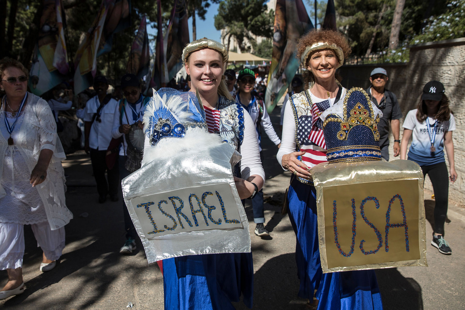 Christian pilgrims from the USA participate during a parade in Jerusalem on September 27,2018. Thousands of Christians from around the world came to Jerusalem for the week long Feast of Tabernacles, also known as Sukkot. (Photo by Heidi Levine for The GroundTruth Project).