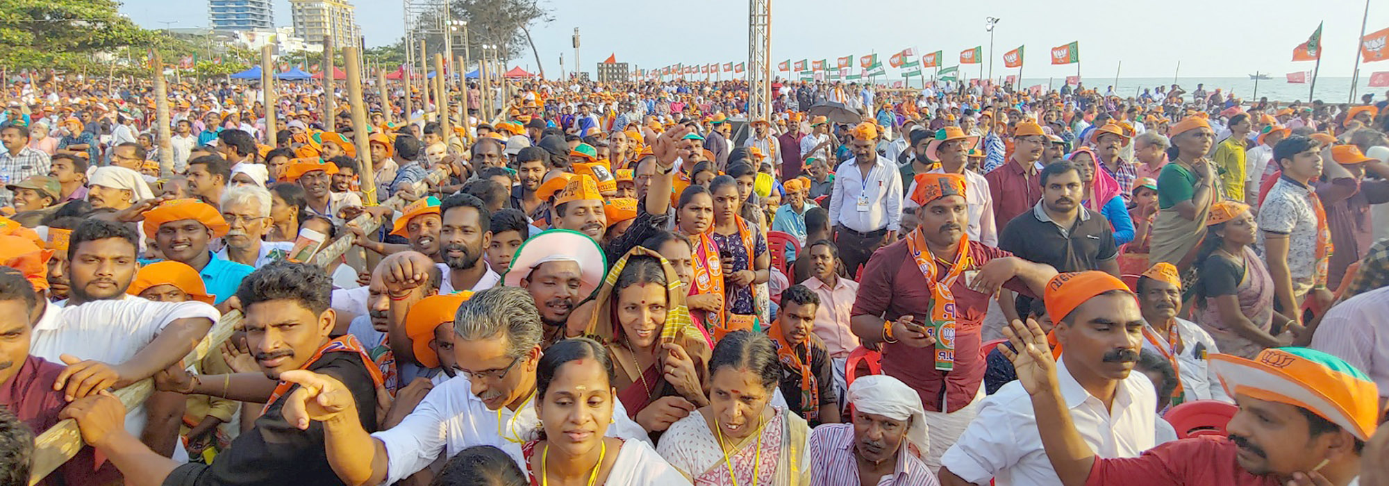 The crowd which attended the election campain  organised by BJP in Kozhikode, Kerala. (Photo by Binesh Kumar/GroundTruth)