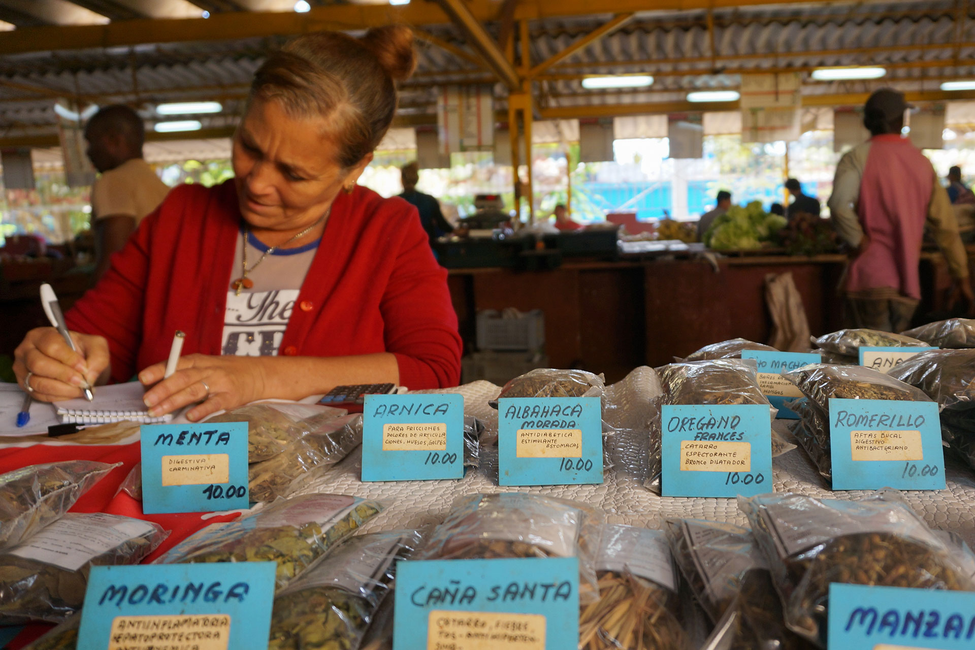 Rosa Maria Leon Castro tends to her traditional medicine stand at an agricultural market March 7, 2019, in the Vedado neighborhood of Havana, Cuba. Markets like these can be found throughout the island, but often have steep prices. (Photo by Emily Mitchell/GroundTruth)