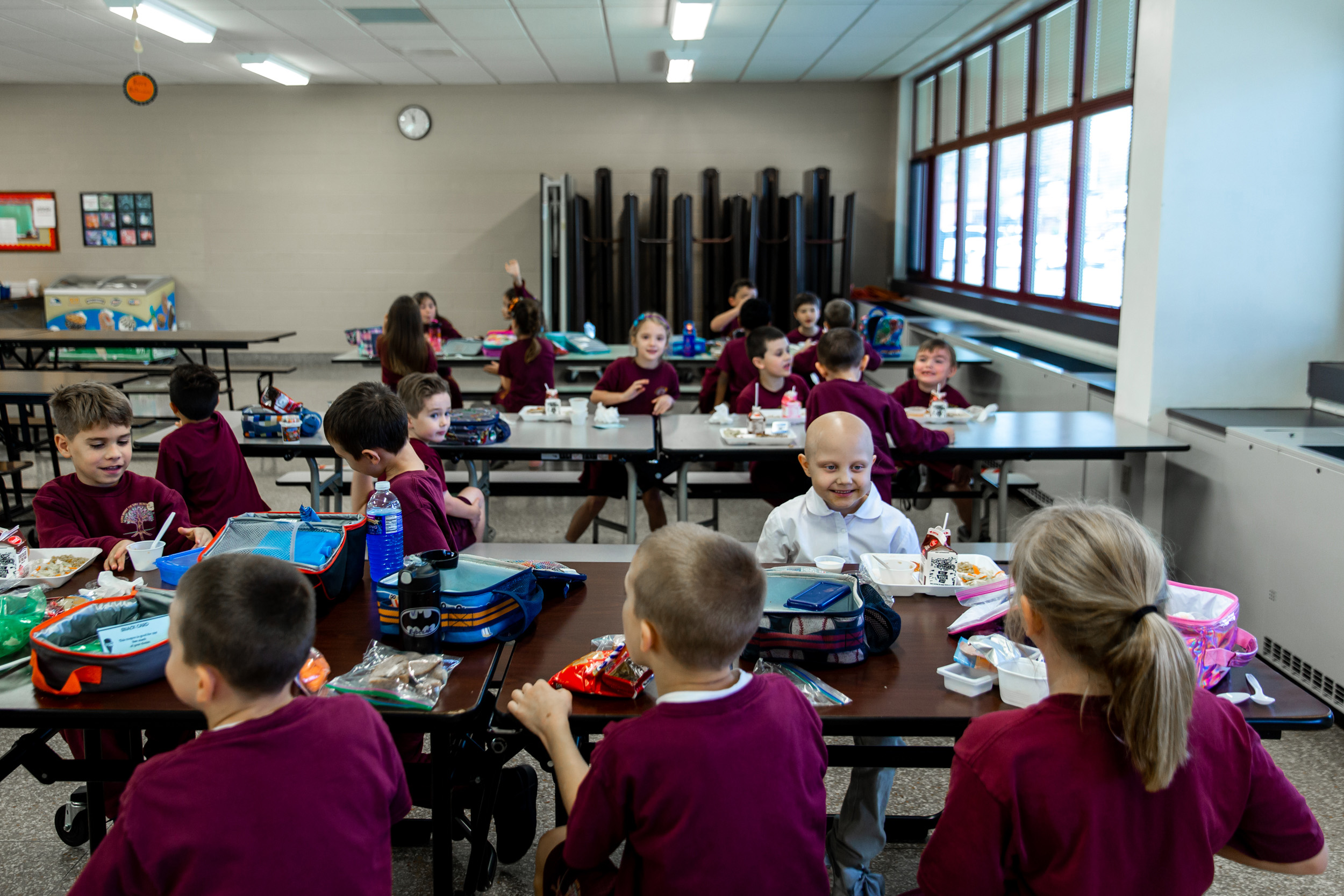 Lunchtime at St.Rose of Lima Elementary School. (Photo by Maranie Staab/GroundTruth)