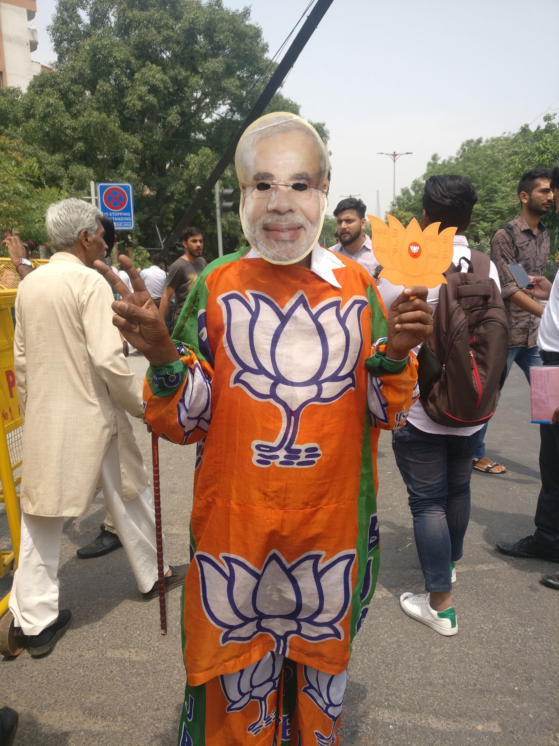 BJP supporter dressed up as Modi for counting day. — (Photo by Manon Verchot/GroundTruth)